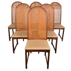 four caned high back dining chairs by Milo Baughman