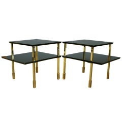 Pair Ebonized & Polished Brass Two Tier Side Tables
