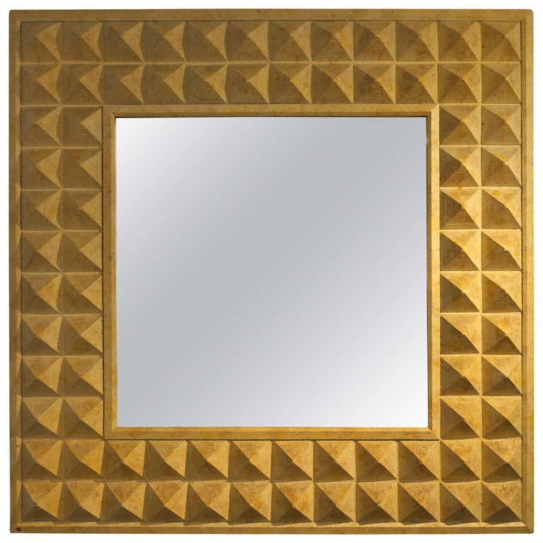 Geometric Pyramid Framed Mirror at 1stdibs