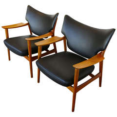 Pair of Sculptural Leather and Teak Lounges by Peter Wessel