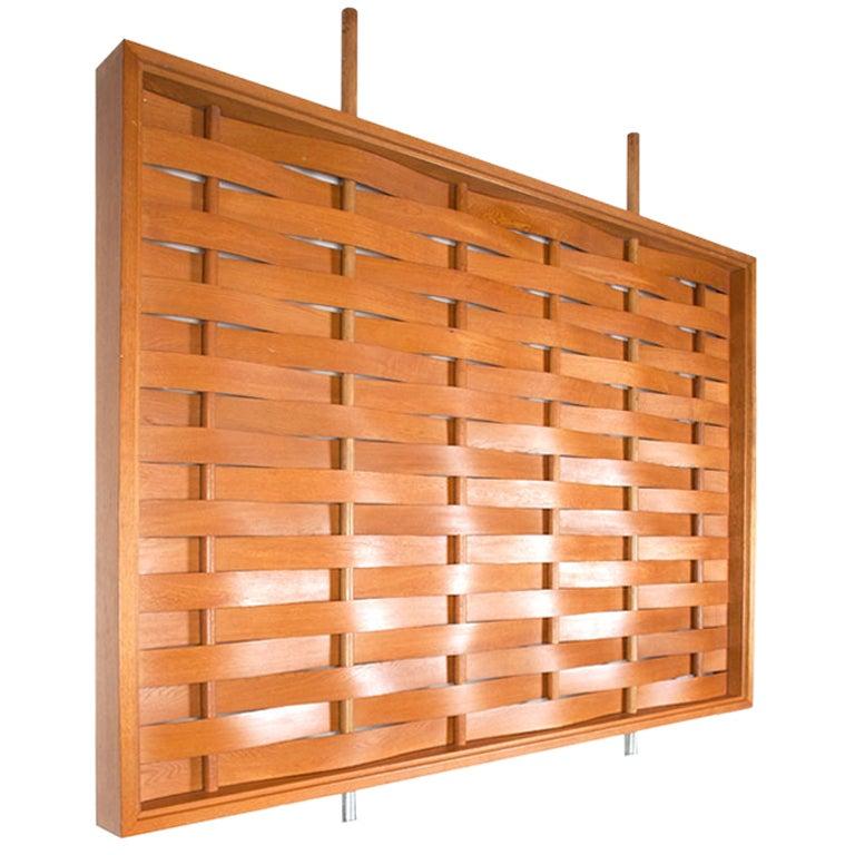 Monumental Woven Wood Room Divider at 1stdibs