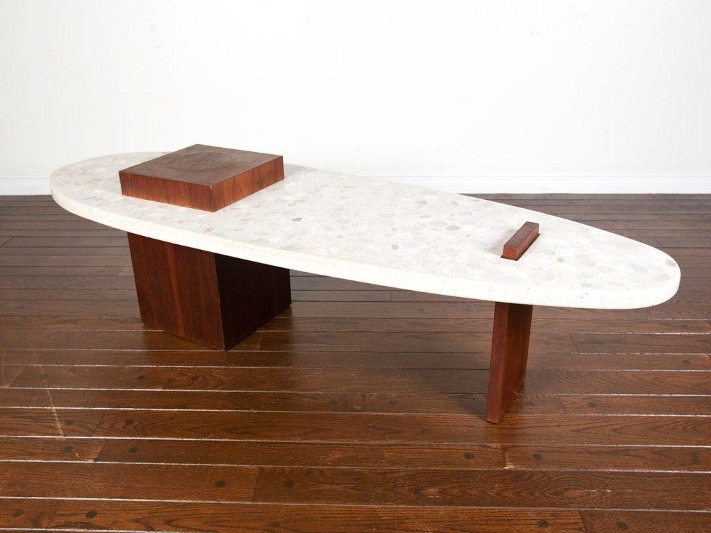 Terrazzo surfboard coffee table by harvey probber at 1stdibs for Surfboard coffee table