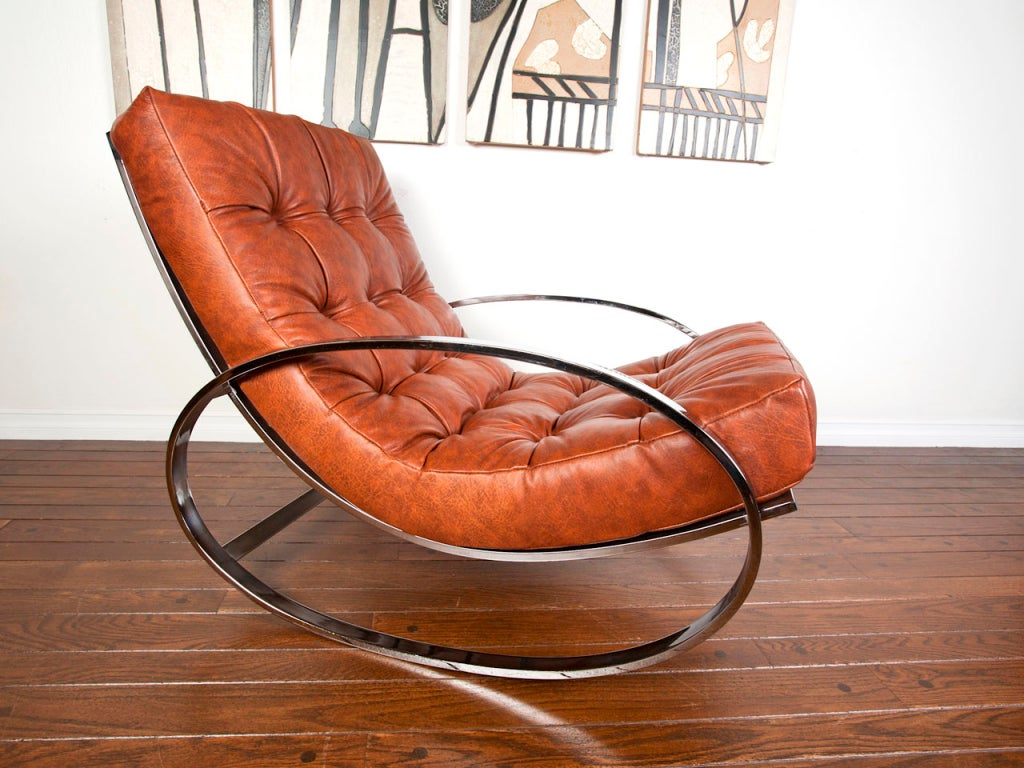 Leather and chrome rocking chair by milo baughman at stdibs