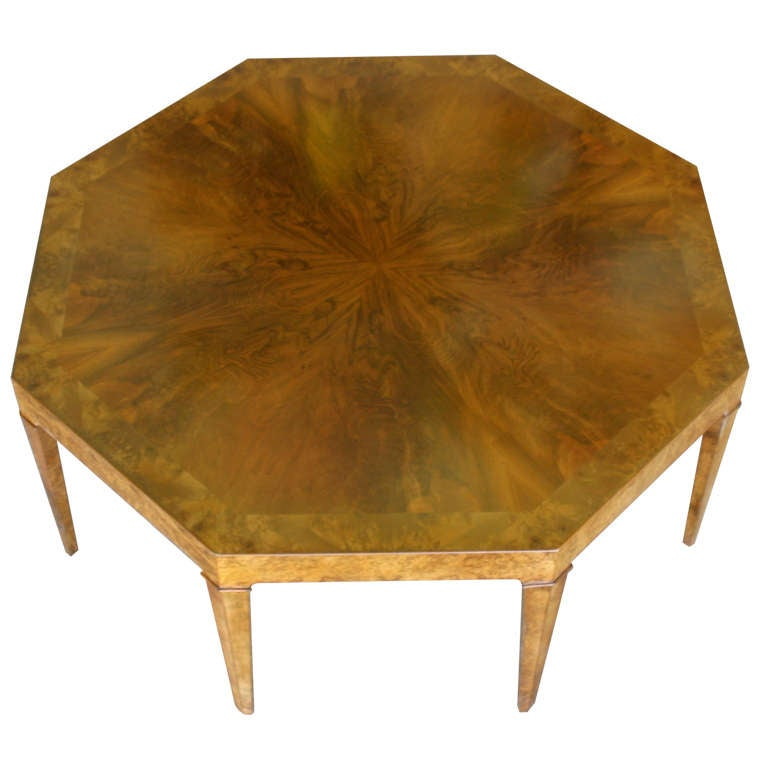 Octagonal burl wood coffee table by baker at 1stdibs for Octagon coffee table