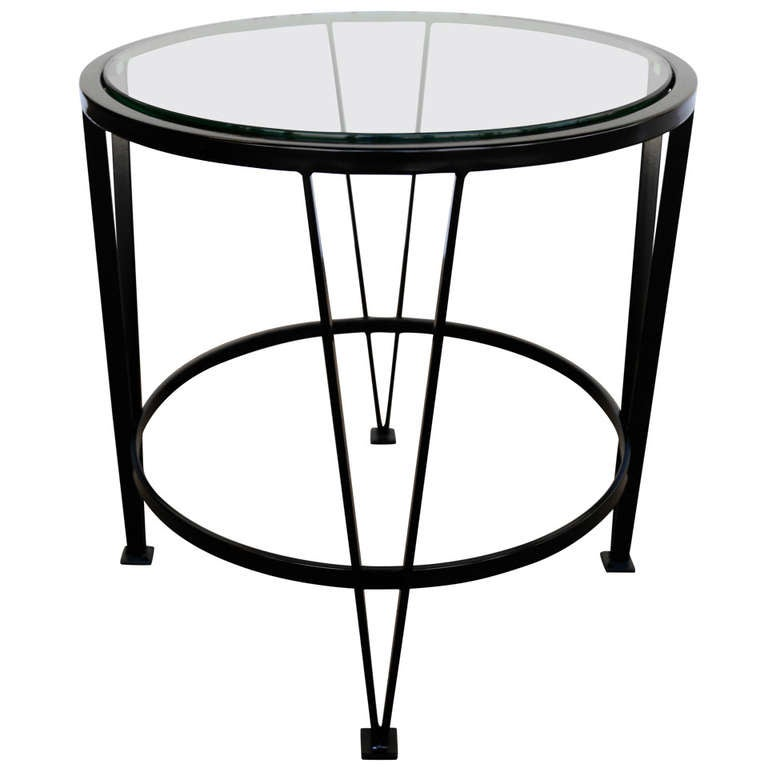 Steel and glass side table at 1stdibs