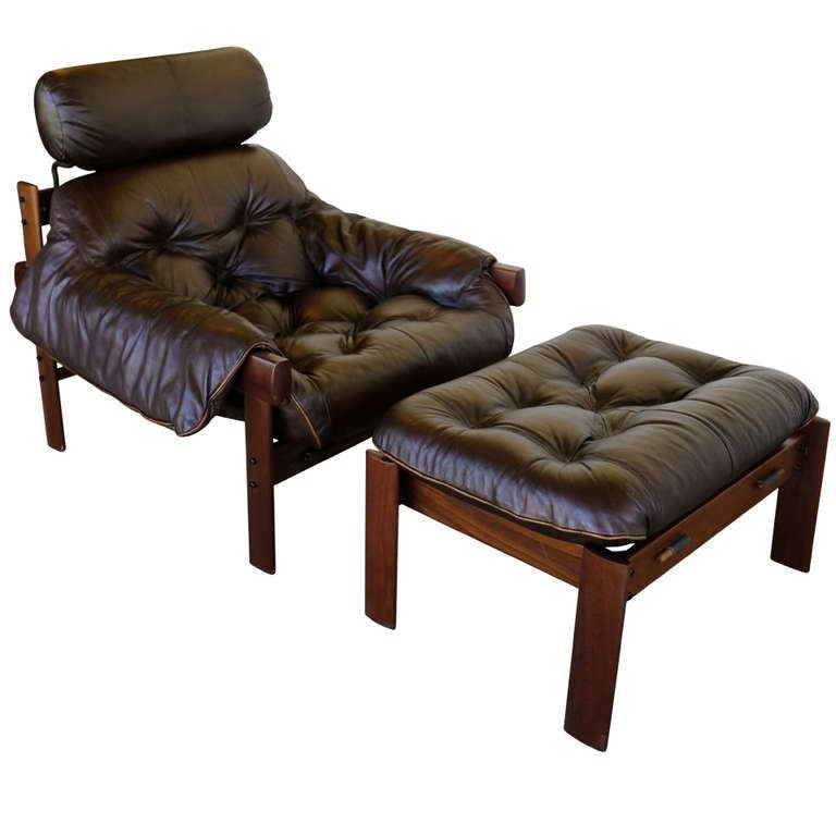 Leather Lounge Chair and Ottoman by Percival Lafer at 1stdibs