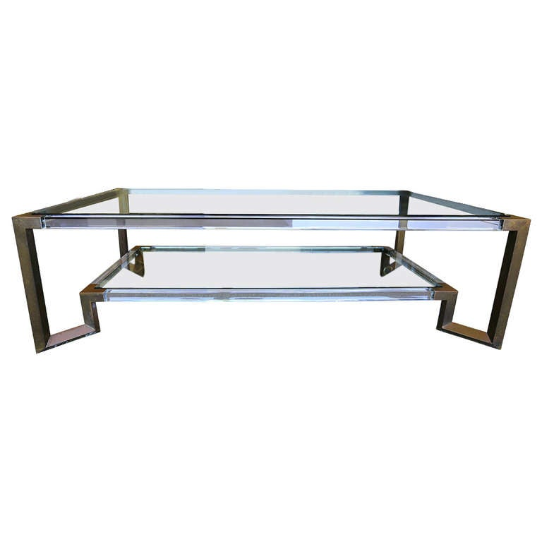 Brass lucite and glass coffee table at 1stdibs for Lucite and brass coffee table