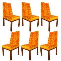 6 dining chairs by Robert Baron w/ original  Jack Larsen fabric