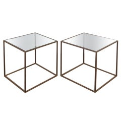 Pair of brass cube tables