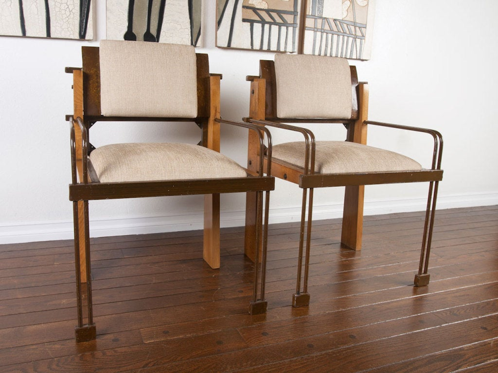 Unique pair industrial modern arm chairs at stdibs