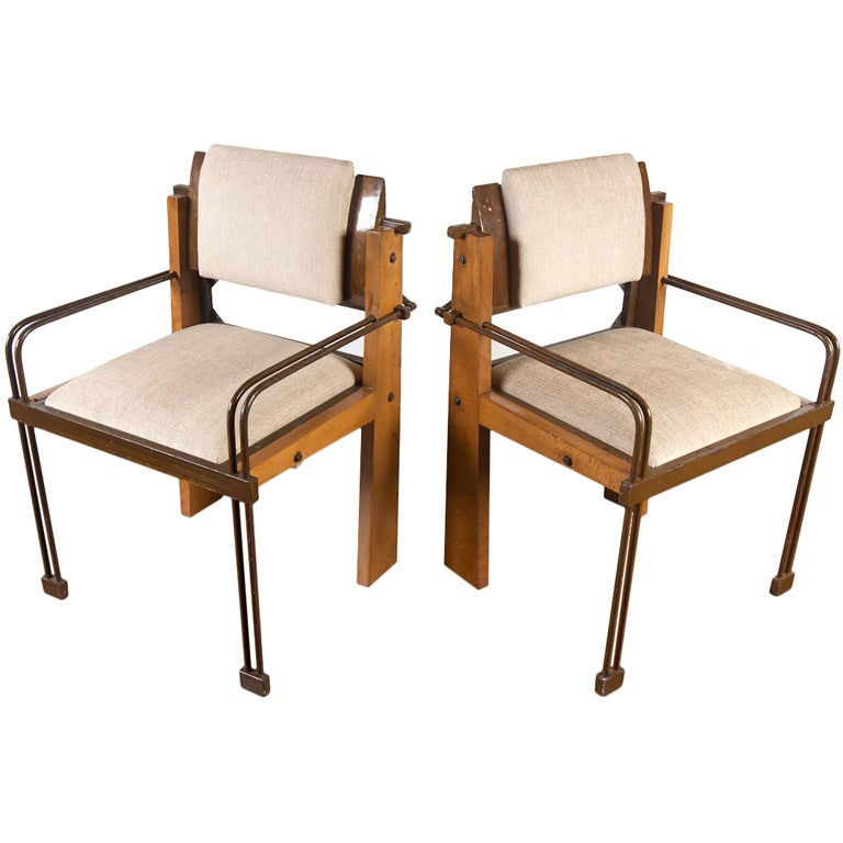 Unique Armchairs: Unique Pair Industrial Modern Arm Chairs At 1stdibs