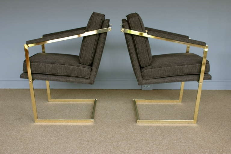 Pair of Brass Cantilevered Arm Chairs by Richard Thompson 6