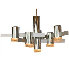 Chrome & Glass Chandelier By Gaetano Sciolari