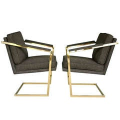 Pair of Brass Cantilevered Arm Chairs by Richard Thompson