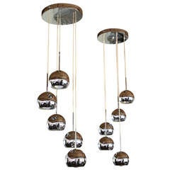 Pair 1970s Polished Chrome Hanging Lights