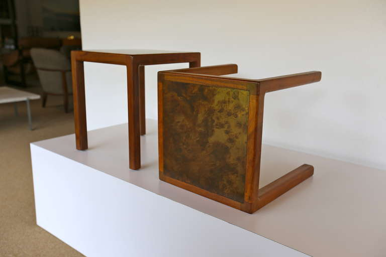 Pair Of Walnut And Acid Etched Bronze End Tables By Harry