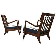 Pair of Lounge Chairs by Gio Ponti Model No. 516, circa 1955