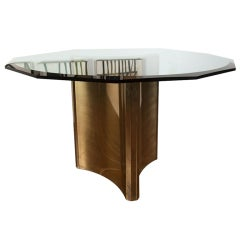 Brass and glass pedestal dining table by MASTERCRAFT