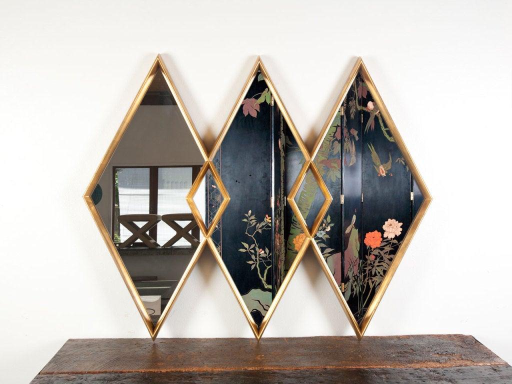 Gold gilt diamond mirror 3