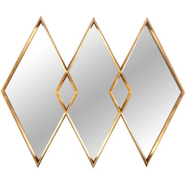 Gold gilt diamond mirror