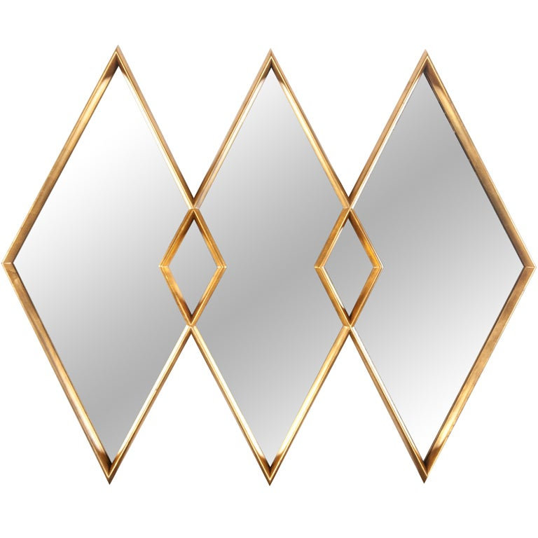 Mirror Frame wrought iron mirror frame : Gold gilt diamond mirror at 1stdibs