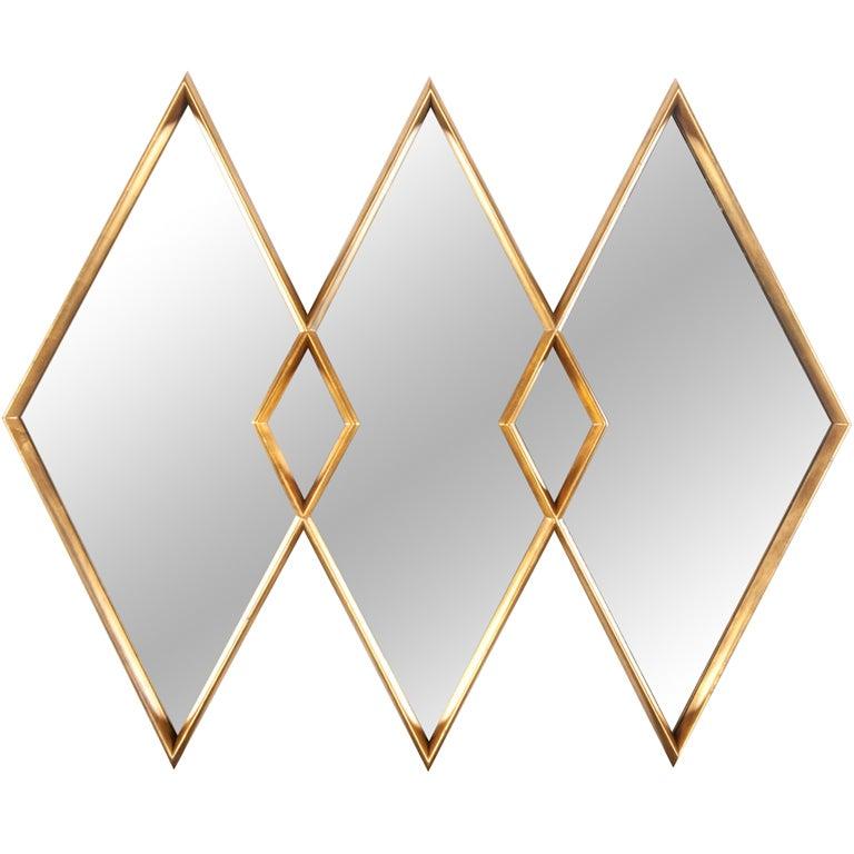 Gold gilt diamond mirror at 1stdibs