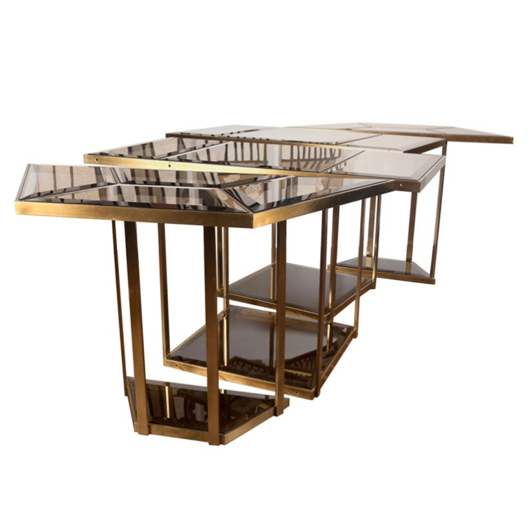 Italian Brass And Smoked Glass Dining Table At 1stdibs