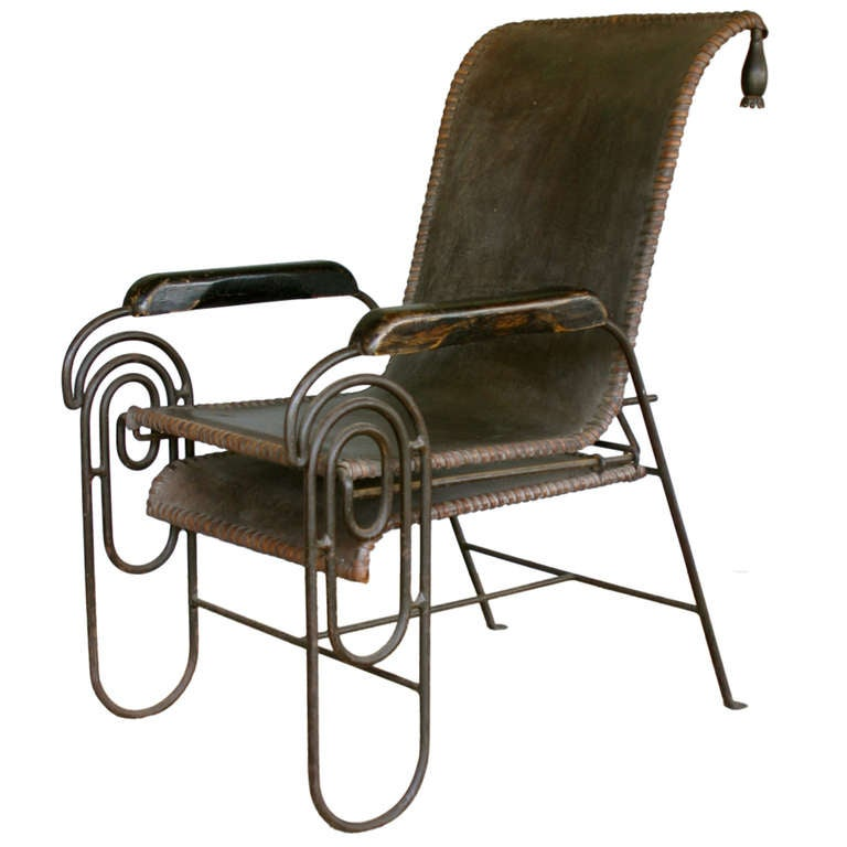 French Art Deco Iron Lounge Chair with Extension Circa 1925 at 1stdibs