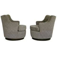 Pair of Swivel Lounge Chairs by Edward Wormley for Dunbar