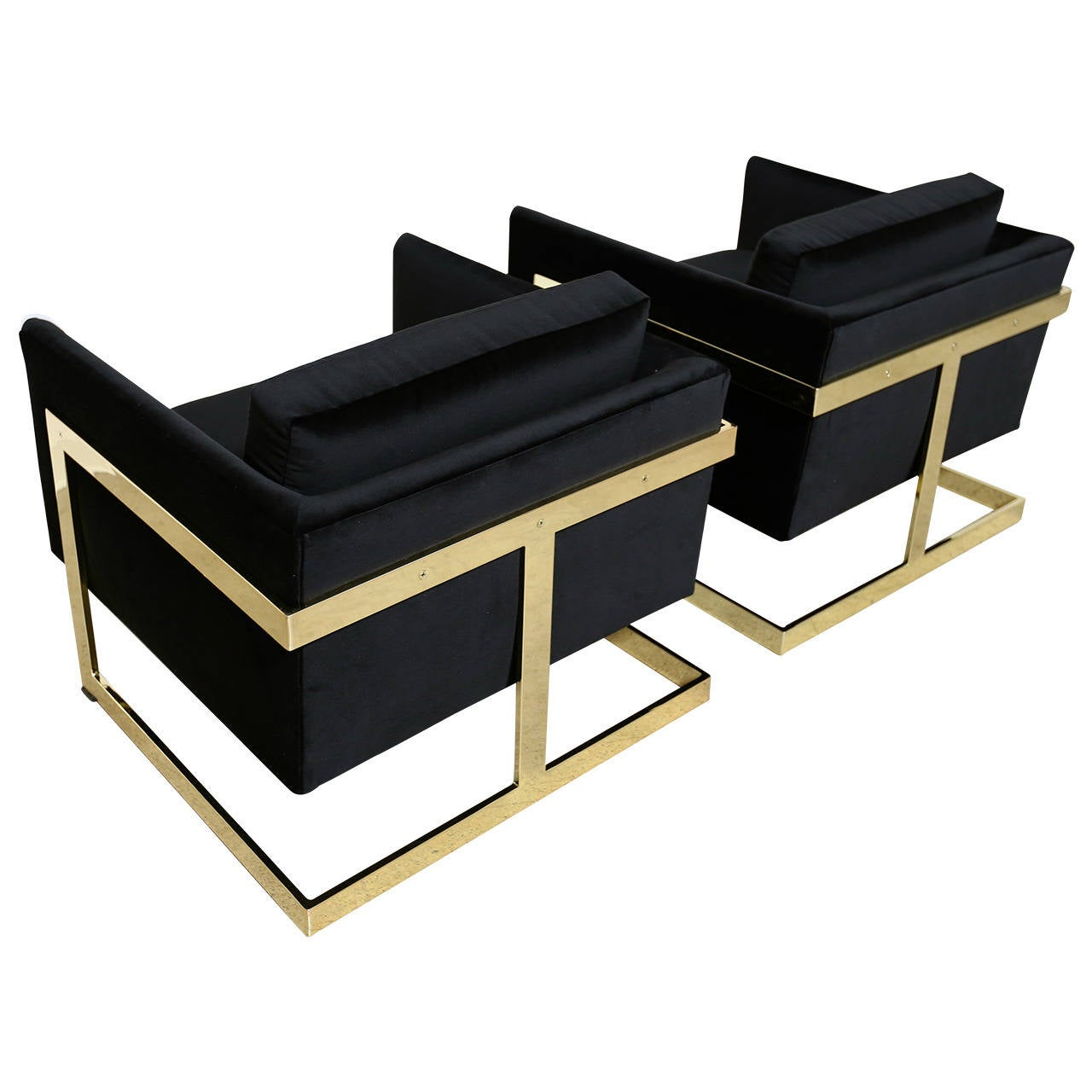"Mirror Polished Brass ""Cube"" Chairs by Milo Baughman at"