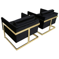 """Mirror Polished Brass """"Cube"""" Chairs by Milo Baughman"""