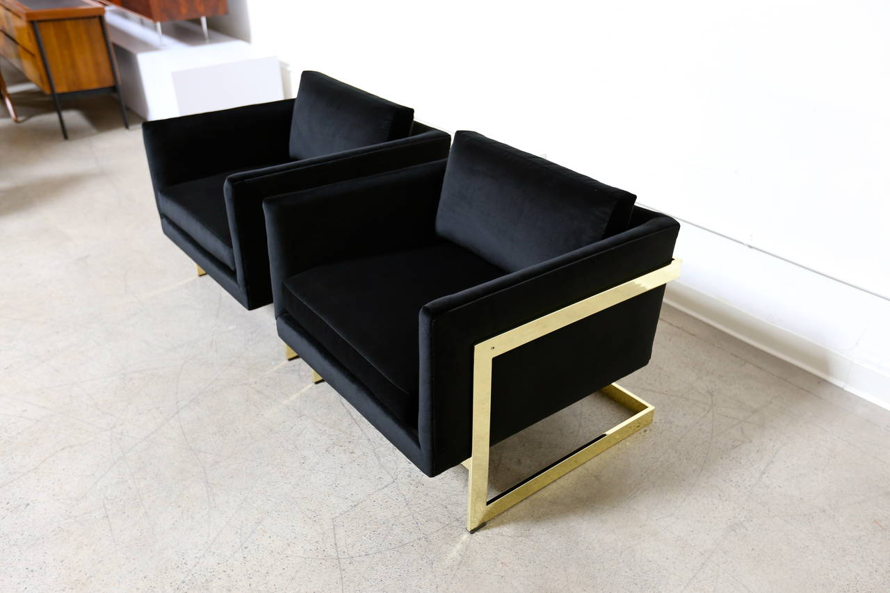 "Mid-Century Modern Mirror Polished Brass ""Cube"" Chairs by Milo Baughman For Sale"