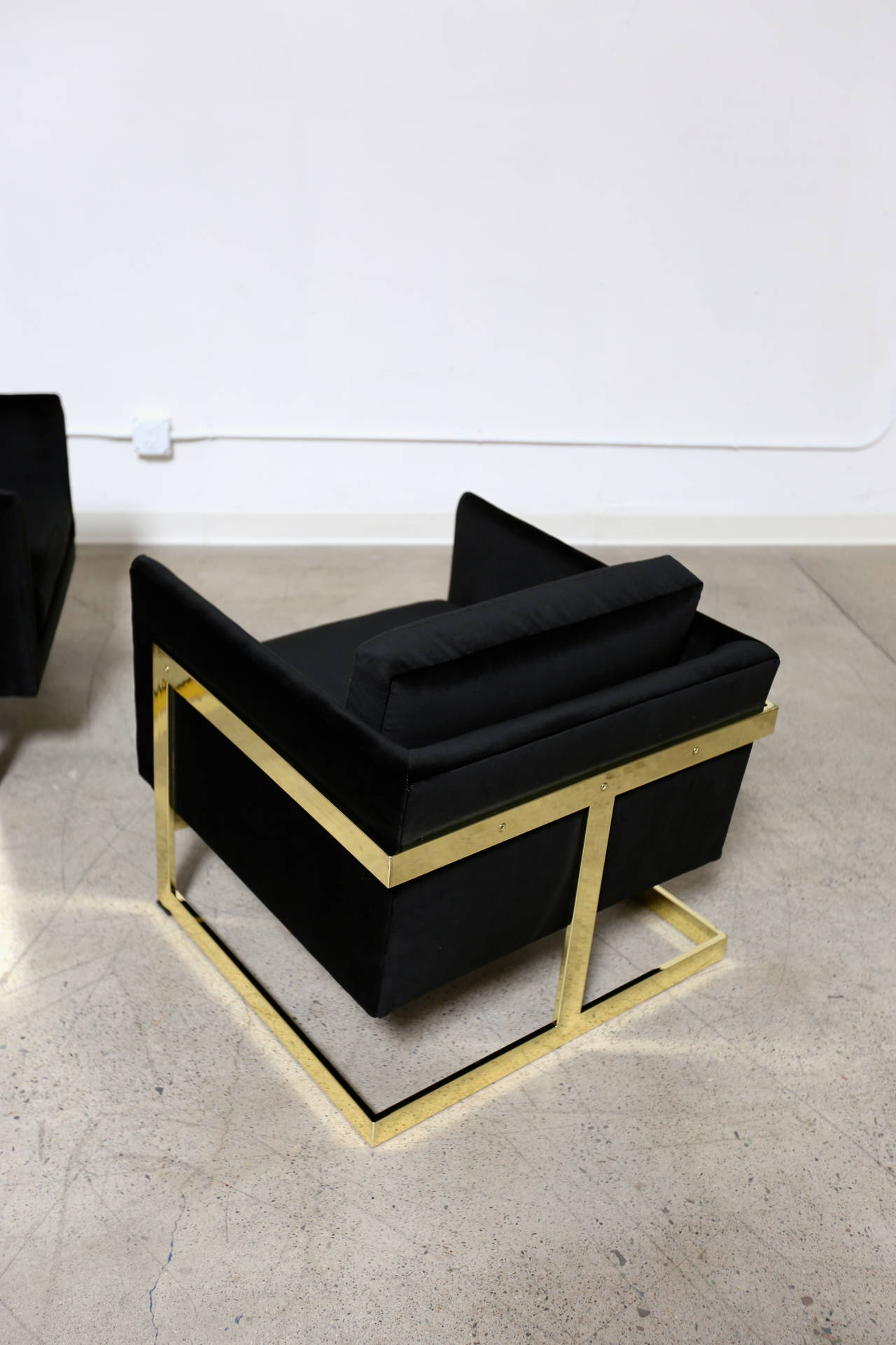 "20th Century Mirror Polished Brass ""Cube"" Chairs by Milo Baughman For Sale"