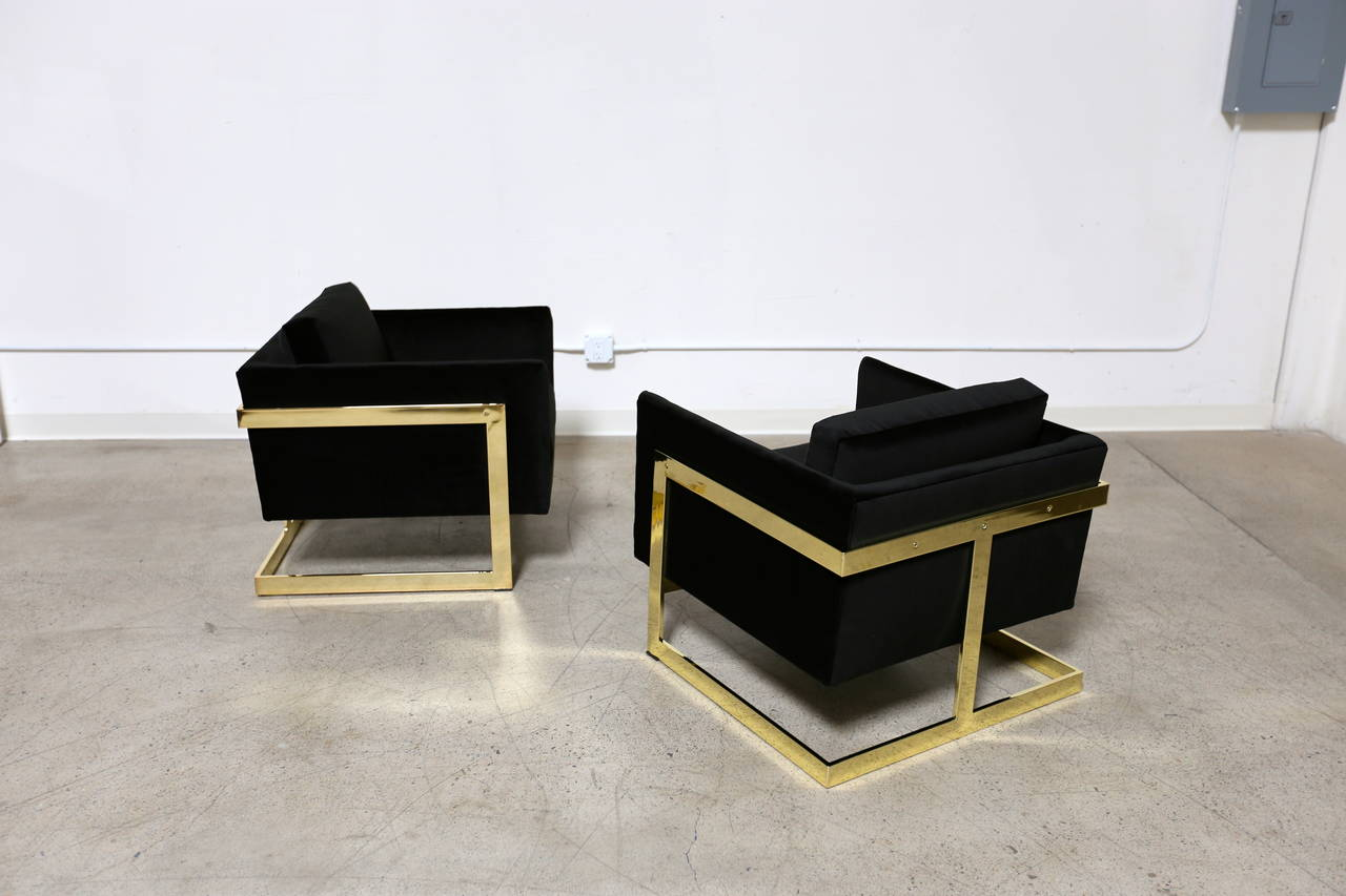 "American Mirror Polished Brass ""Cube"" Chairs by Milo Baughman For Sale"