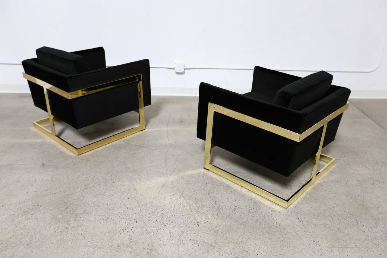 "Mirror Polished Brass "" Cube "" Chairs by Milo Baughman for Thayer Coggin.  Also know as "" T "" Bar Chairs."