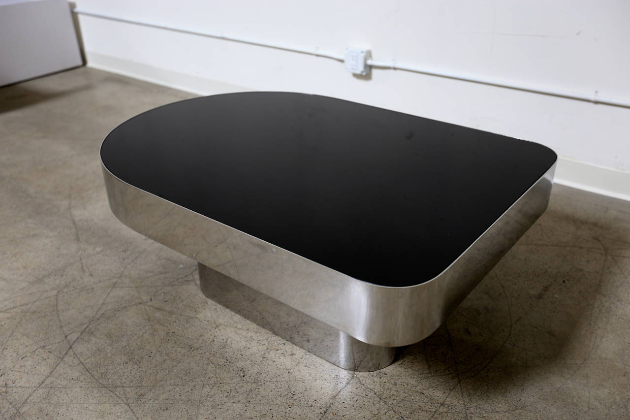 Stainless Steel And Glass Coffee Table Circa 1975 At 1stdibs