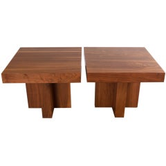 Pair of walnut side tables by Milo Baughman