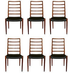 Set of Six Niels O. Moller Rosewood Highback Dining Chairs