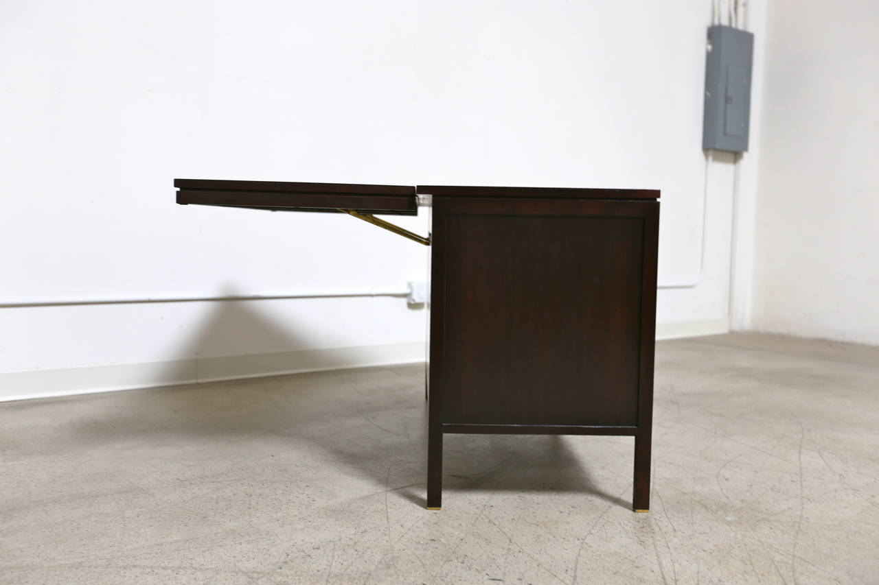 Tambour Door Cabinet with Drop Down Desk by Edward Wormley