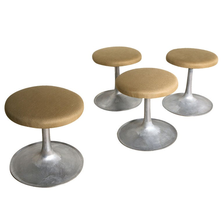 Set Of Four Mid Century Industrial Tulip Stools At 1stdibs