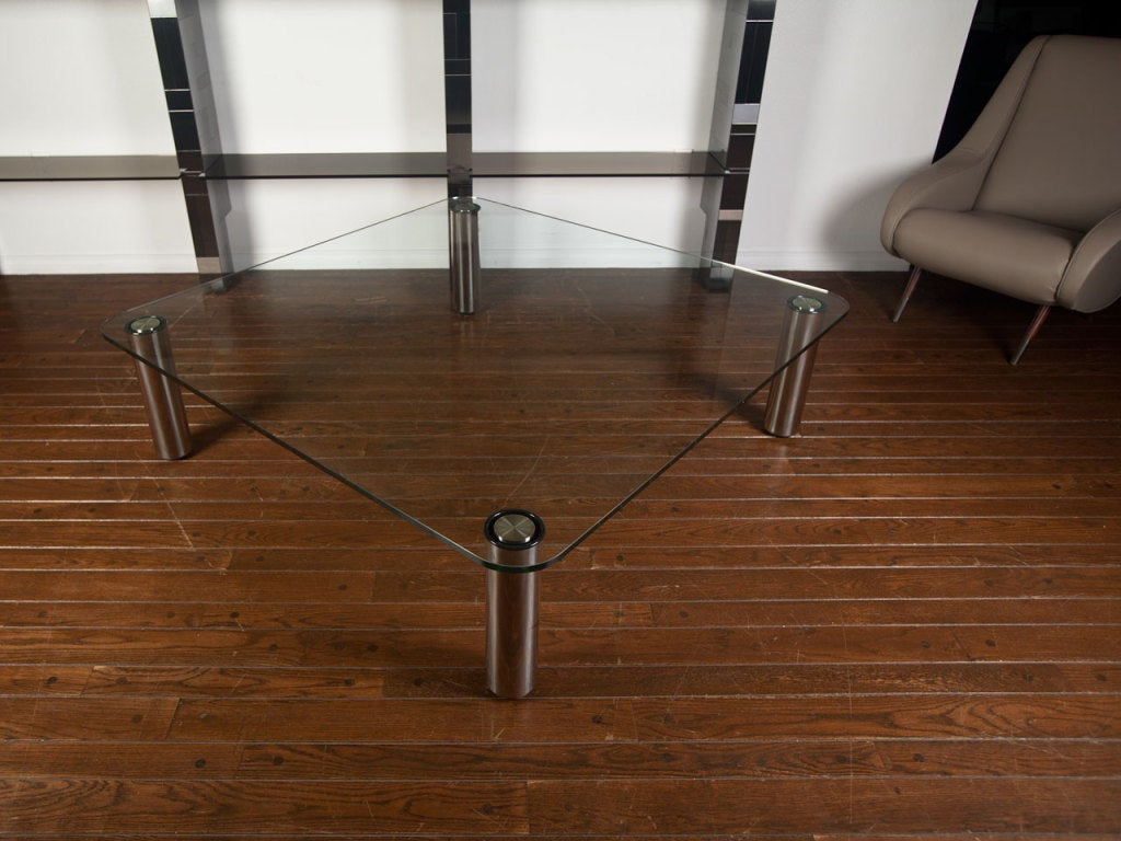 Italian Glass And Steel Coffee Table By Marco Zanuso For Zonotta At 1stdibs