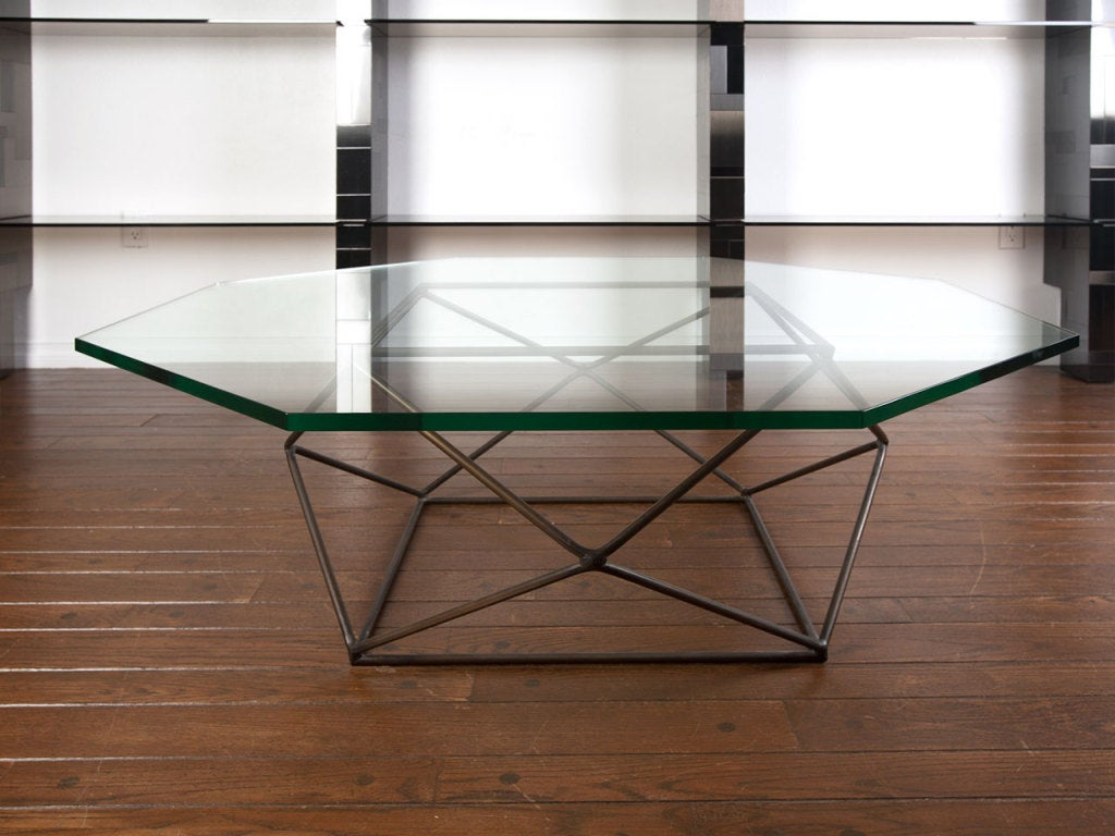 Rare bronze & glass geometric table by MILO BAUGHMAN image 2