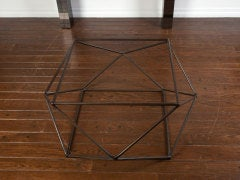 Rare bronze & glass geometric table by MILO BAUGHMAN thumbnail 3