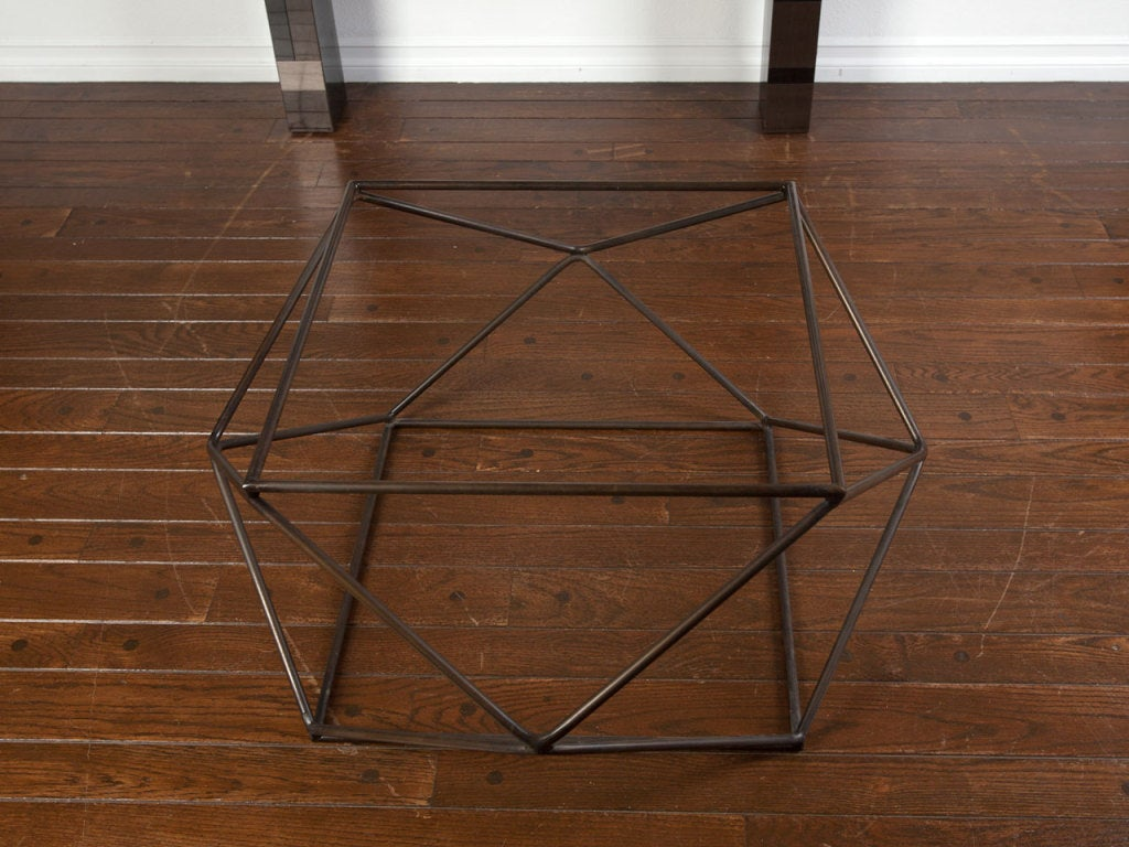 Rare bronze & glass geometric table by MILO BAUGHMAN image 3