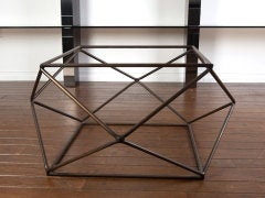 Rare bronze & glass geometric table by MILO BAUGHMAN thumbnail 4