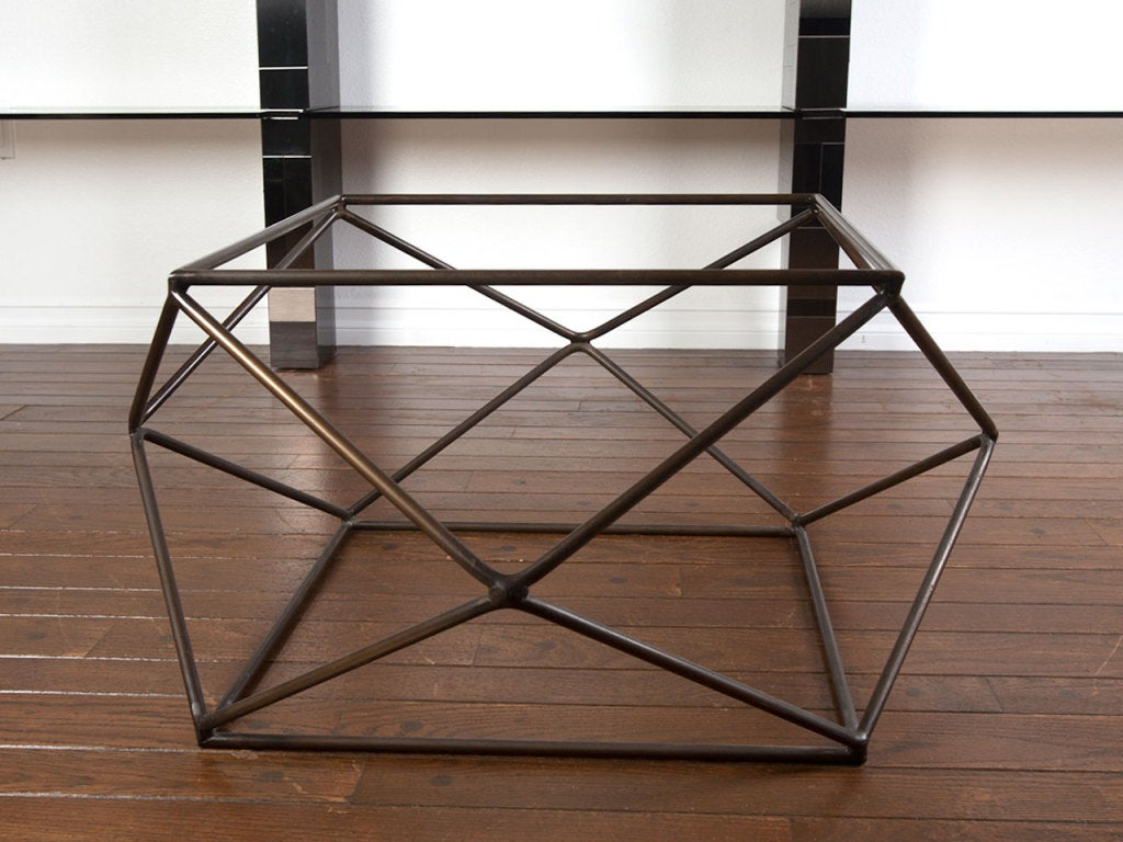 Rare bronze & glass geometric table by MILO BAUGHMAN image 4