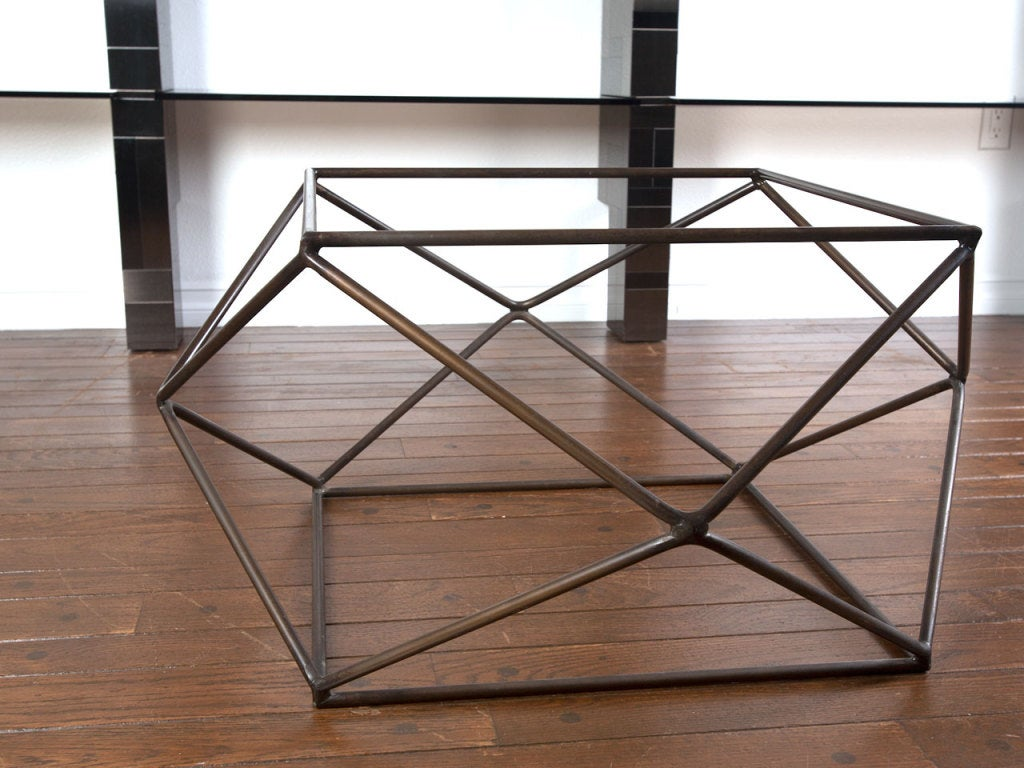 Rare bronze & glass geometric table by MILO BAUGHMAN image 5