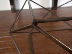 Rare bronze & glass geometric table by MILO BAUGHMAN thumbnail 6