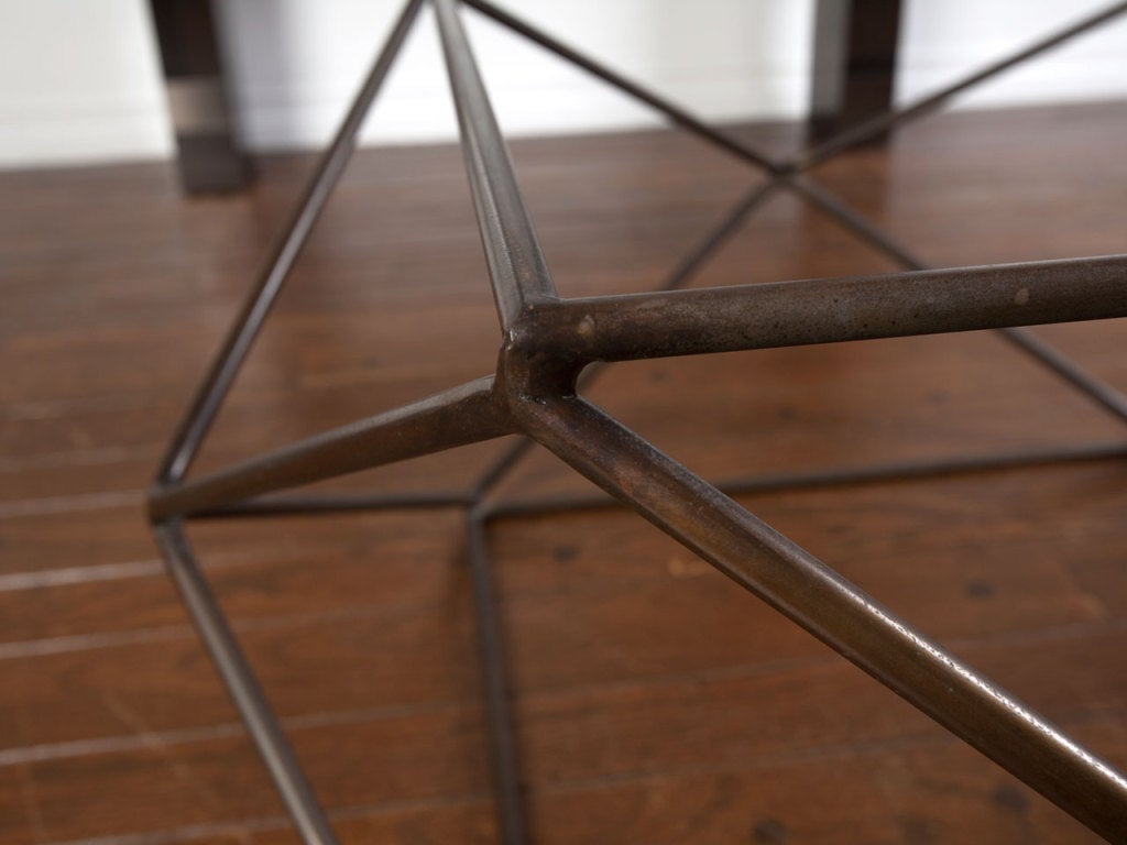 Rare bronze & glass geometric table by MILO BAUGHMAN image 6