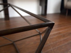 Rare bronze & glass geometric table by MILO BAUGHMAN thumbnail 7